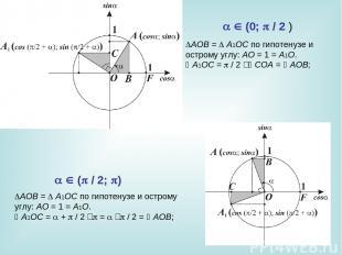 AOB= A1OC по гипотенузе и острому углу: AO=1=A1O. A1OC= /2‑ COA=