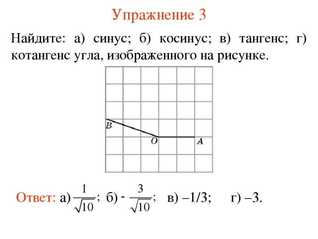 Упражнение 3 Найдите: а) синус; б) косинус; в) тангенс; г) котангенс угла, изображенного на рисунке. в) –1/3; г) –3.