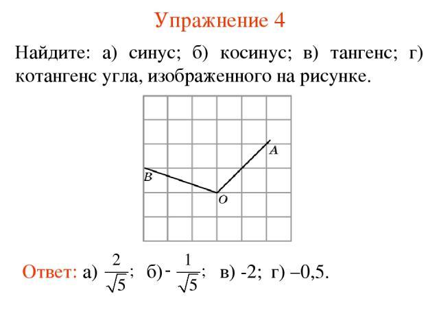 Упражнение 4 Найдите: а) синус; б) косинус; в) тангенс; г) котангенс угла, изображенного на рисунке. в) -2; г) –0,5.