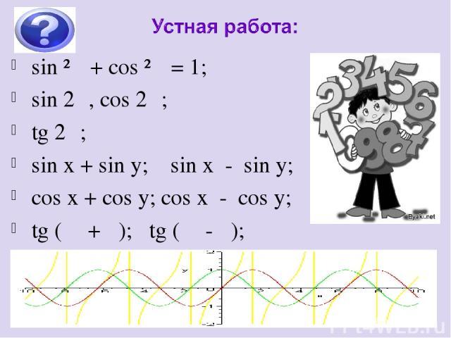 sin ²α + cos ²α = 1; sin 2α, cos 2α; tg 2α; sin x + sin y; sin x - sin y; cos x + cos y; cos x - cos y; tg (α +β ); tg (α - β);