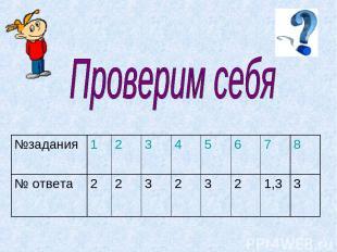 №задания 1 2 3 4 5 6 7 8 № ответа 2 2 3 2 3 2 1,3 3