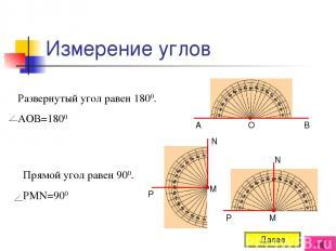 Измерение углов Развернутый угол равен 1800. АОВ=1800 Прямой угол равен 900. РМN