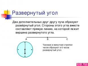 Развернутый угол Два дополнительных друг другу луча образуют развёрнутый угол. С