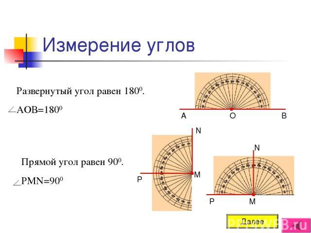 Измерение углов Развернутый угол равен 1800. АОВ=1800 Прямой угол равен 900. РМN=900 Далее