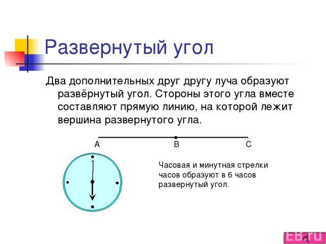 Развернутый угол Два дополнительных друг другу луча образуют развёрнутый угол. Стороны этого угла вместе составляют прямую линию, на которой лежит вершина развернутого угла. Часовая и минутная стрелки часов образуют в 6 часов развернутый угол.