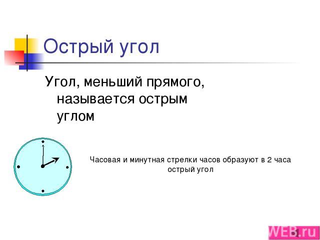 Острый угол Угол, меньший прямого, называется острым углом Часовая и минутная стрелки часов образуют в 2 часа острый угол