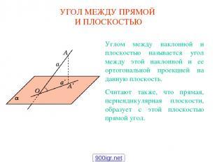 УГОЛ МЕЖДУ ПРЯМОЙ И ПЛОСКОСТЬЮ Углом между наклонной и плоскостью называется уго