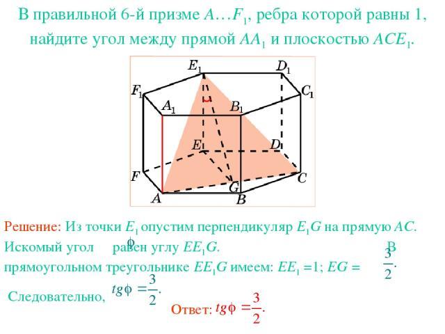 В правильной 6-й призме A…F1, ребра которой равны 1, найдите угол между прямой AA1 и плоскостью ACE1.