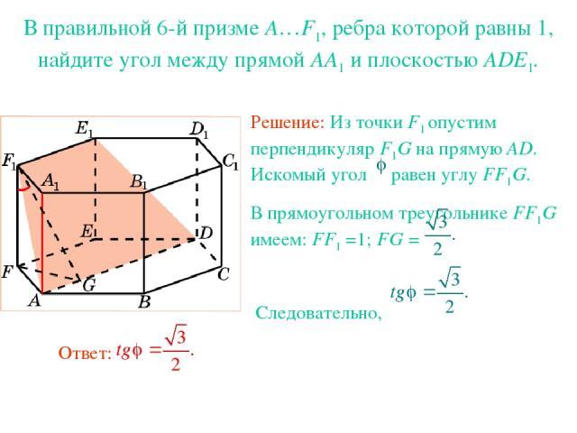 В правильной 6-й призме A…F1, ребра которой равны 1, найдите угол между прямой AA1 и плоскостью ADE1.