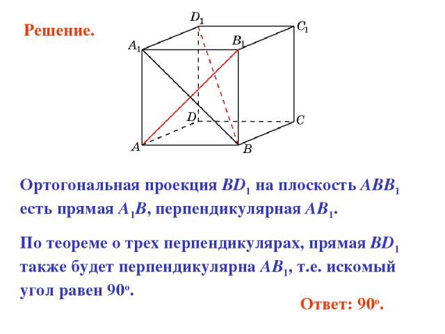 Ответ: 90o. Ортогональная проекция BD1 на плоскость ABB1 есть прямая A1B, перпендикулярная AB1. По теореме о трех перпендикулярах, прямая BD1 также будет перпендикулярна AB1, т.е. искомый угол равен 90о. Решение.