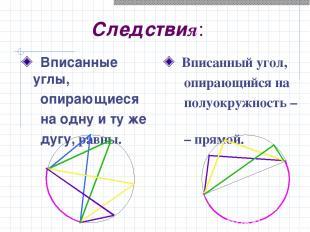 Следствия: Вписанные углы, опирающиеся на одну и ту же дугу, равны. Вписанный уг
