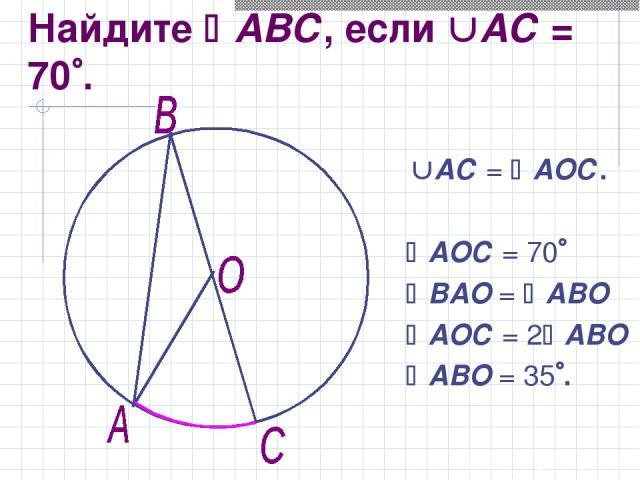 Найдите АВС, если АС = 70 . АС = АОС. АОС = 70 ВАО = АВО АОС = 2 АВО АВО = 35 .