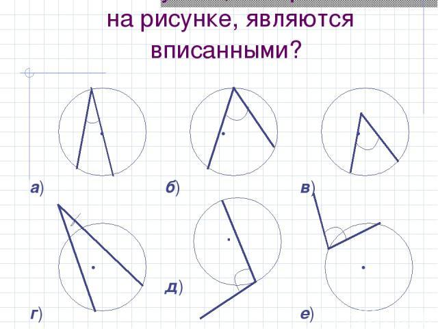 Какие из углов, изображенных на рисунке, являются вписанными?   а)   б)   в)   г)  . д)   е)