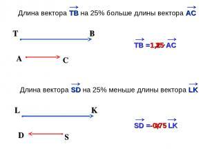 х 1,25 A C T B ТВ = АС х Длина вектора TB на 25% больше длины вектора АС -0,75