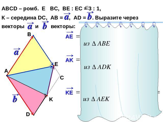 АВСD – ромб. Е ВС, ВЕ : ЕС = 3 : 1, К – середина DC, АВ = , AD = . Выразите через векторы и векторы: С А В D