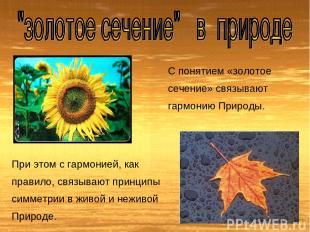 С понятием «золотое сечение» связывают гармонию Природы. При этом с гармонией, к