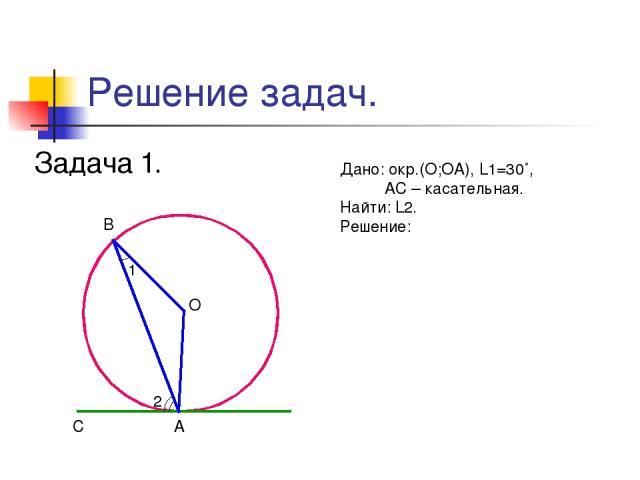 Решение задач. Задача 1. А В О Дано: окр.(О;ОА), L1=30˚, АС – касательная. Найти: L2. Решение: С 1 2