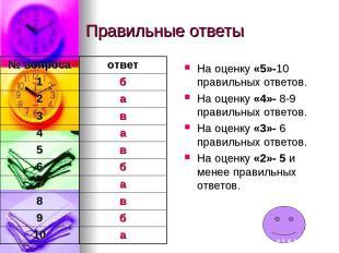 Правильные ответы На оценку «5»-10 правильных ответов. На оценку «4»- 8-9 правил
