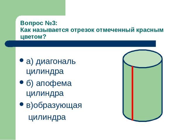 Вопрос №3: Как называется отрезок отмеченный красным цветом? а) диагональ цилиндра б) апофема цилиндра в)образующая цилиндра