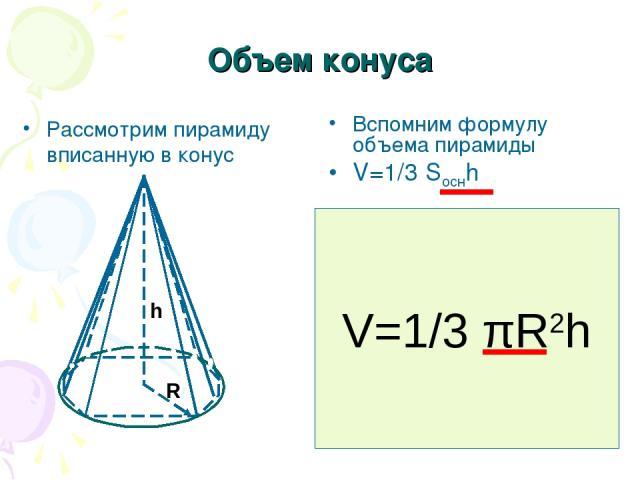 Объем конуса Рассмотрим пирамиду вписанную в конус Вспомним формулу объема пирамиды V=1/3 Sоснh Чем больше сторон у основания пирамиды тем больше пирамида стремится к конусу, а площадь основания к площади круга. Выведите самостоятельно формулу объем…