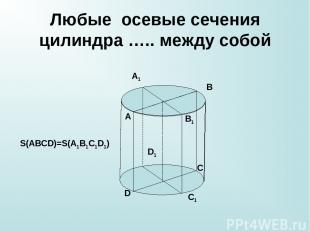 Любые осевые сечения цилиндра ….. между собой A B C D A1 B1 C1 D1 S(ABCD)=S(A1B1