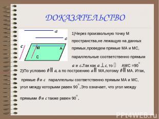 ДОКАЗАТЕЛЬСТВО 1)Через произвольную точку М пространства,не лежащую на данных пр