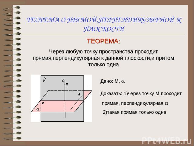 ТЕОРЕМА О ПРЯМОЙ,ПЕРПЕНДИКУЛЯРНОЙ К ПЛОСКОСТИ ТЕОРЕМА: Через любую точку пространства проходит прямая,перпендикулярная к данной плоскости,и притом только одна Дано: М, a Доказать: 1)через точку М проходит прямая, перпендикулярная a 2)такая прямая то…