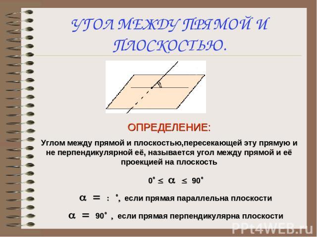 УГОЛ МЕЖДУ ПРЯМОЙ И ПЛОСКОСТЬЮ. ОПРЕДЕЛЕНИЕ: Углом между прямой и плоскостью,пересекающей эту прямую и не перпендикулярной её, называется угол между прямой и её проекцией на плоскость 0° £ a £ 90° a = 0 °, если прямая параллельна плоскости a = 90° ,…
