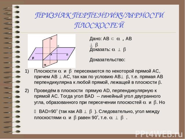 ПРИЗНАК ПЕРПЕНДИКУЛЯРНОСТИ ПЛОСКОСТЕЙ Плоскости a и b пересекаются по некоторой прямой АС, причем АВ ^ АС, так как по условию АВ^ b, т.е. прямая АВ перпендикулярна к любой прямой, лежащей в плоскости b. Проведём в плоскости прямую АD, перпендикулярн…
