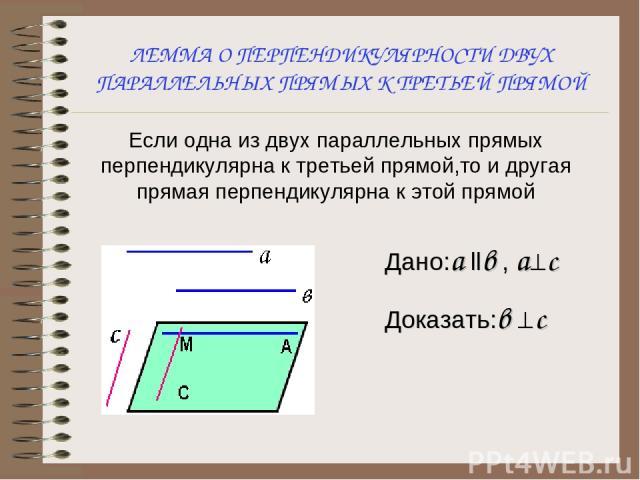 ЛЕММА О ПЕРПЕНДИКУЛЯРНОСТИ ДВУХ ПАРАЛЛЕЛЬНЫХ ПРЯМЫХ К ТРЕТЬЕЙ ПРЯМОЙ Если одна из двух параллельных прямых перпендикулярна к третьей прямой,то и другая прямая перпендикулярна к этой прямой Дано:а llв , а^c Доказать:в ^c