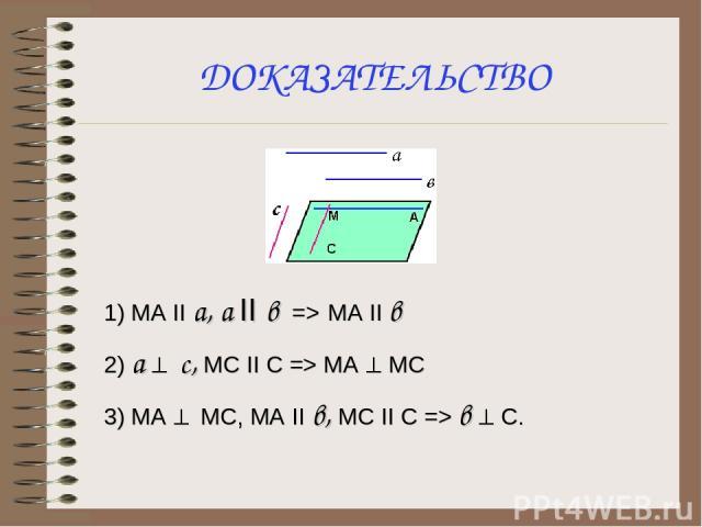 ДОКАЗАТЕЛЬСТВО 1) МА II a, a II в => MA II в 2) а ^ c, MC II C => MA ^ MC 3) MA ^ MC, MA II в, МС II C => в ^ С.