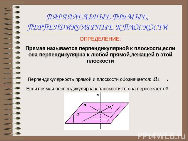 ПАРАЛЛЕЛЬНЫЕ ПРЯМЫЕ, ПЕРПЕНДИКУЛЯРНЫЕ К ПЛОСКОСТИ ОПРЕДЕЛЕНИЕ: Прямая называется перпендикулярной к плоскости,если она перпендикулярна к любой прямой,лежащей в этой плоскости Перпендикулярность прямой и плоскости обозначается: а^α. Если прямая перпе…