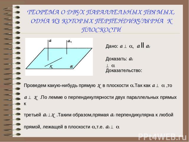 Дано: а ^ a, а ll а1 Доказать: а1 ^ a Доказательство: Проведем какую-нибудь прямую х в плоскости a.Так как а ^ a ,то а ^ х .По лемме о перпендикулярности двух параллельных прямых к третьей а1 ^х .Таким образом,прямая а1 перпендикулярна к любой прямо…
