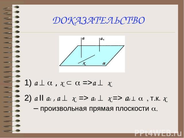 ДОКАЗАТЕЛЬСТВО 1) а ^ a , х Ì a =>a ^ x 2) a II a1 , a ^ x => a1 ^ x => а1 ^ a , т.к. х – произвольная прямая плоскости a.