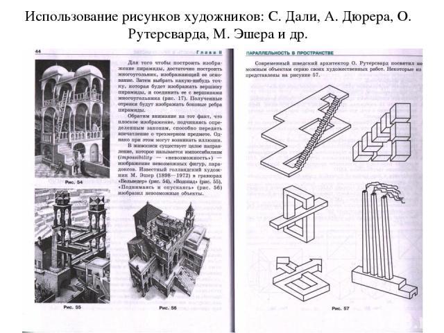 Использование рисунков художников: С. Дали, А. Дюрера, О. Рутерсварда, М. Эшера и др.
