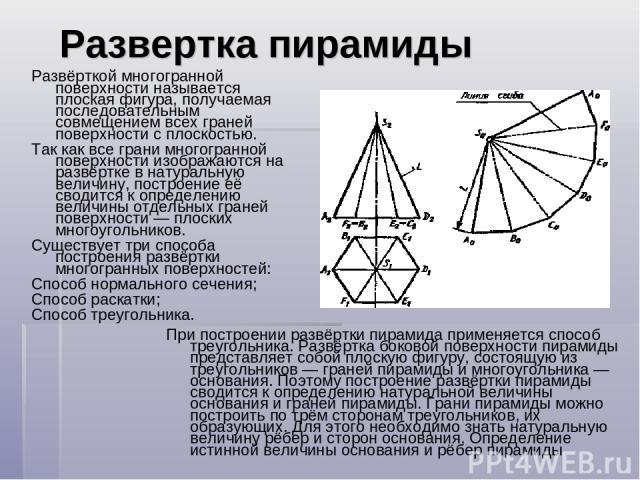 Развертка пирамиды Развёрткой многогранной поверхности называется плоская фигура, получаемая последовательным совмещением всех граней поверхности с плоскостью. Так как все грани многогранной поверхности изображаются на развёртке в натуральную величи…