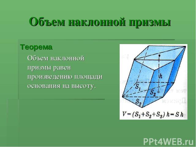 Объем наклонной призмы Теорема Объем наклонной призмы равен произведению площади основания на высоту.
