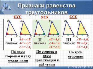 Признаки равенства треугольников СУС УСУ ССС По двум сторонам и углу между ними