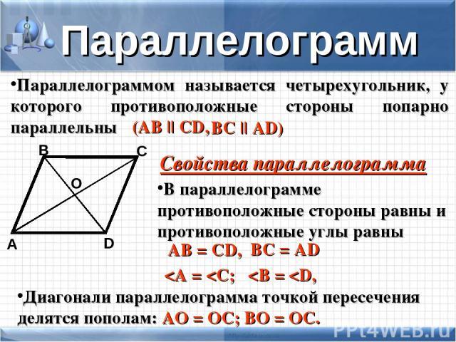 Параллелограммом называется четырехугольник, у которого противоположные стороны попарно параллельны D А В С (АB || CD, BC || AD) Параллелограмм В параллелограмме противоположные стороны равны и противоположные углы равны Диагонали параллелограмма то…