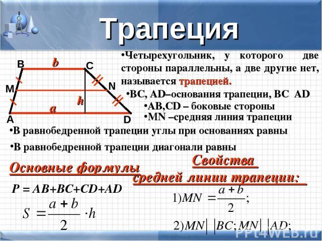 Четырехугольник, у которого две стороны параллельны, а две другие нет, называется трапецией. A B C D BC, AD–основания трапеции, ВС║АD AB,CD – боковые стороны Трапеция M N MN –средняя линия трапеции Свойства средней линии трапеции: P = АВ+ВС+СD+AD Ос…