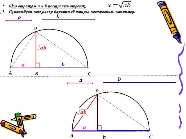 6)по отрезкам a и b построить отрезок Существует несколько вариантов такого построения, например:
