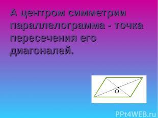 А центром симметрии параллелограмма - точка пересечения его диагоналей.