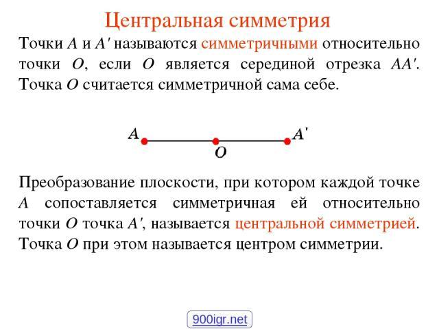 Центральная симметрия Точки А и А' называются симметричными относительно точки О, если О является серединой отрезка АА'. Точка О считается симметричной сама себе. Преобразование плоскости, при котором каждой точке А сопоставляется симметричная ей от…
