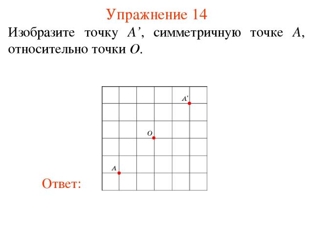 Упражнение 14 Изобразите точку A', симметричную точке A, относительно точки O.