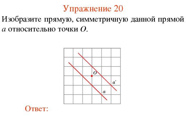 Упражнение 20 Изобразите прямую, симметричную данной прямой a относительно точки O.