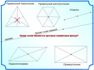 Правильный треугольник Правильный шестиугольник Параллелограмм Отрезок Прямоугол