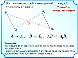 А1 А О Построить отрезок А1В1 симметричный отрезку АВ относительно точки О Точка