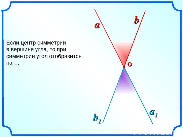 Если центр симметрии в вершине угла, то при симметрии угол отобразится на … a b О