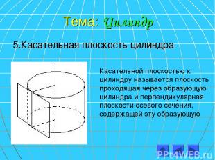Тема: Цилиндр 5.Касательная плоскость цилиндра Касательной плоскостью к цилиндру