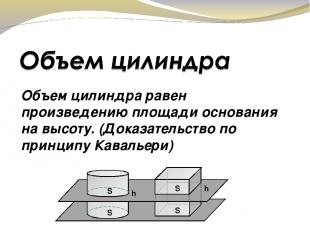 Объем цилиндра равен произведению площади основания на высоту. (Доказательство п